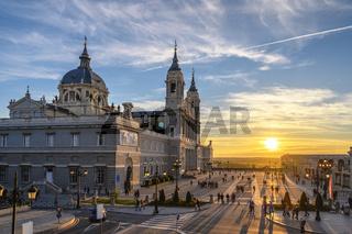 Madrid Spain, city skyline sunset at Cathedral de la Almudena