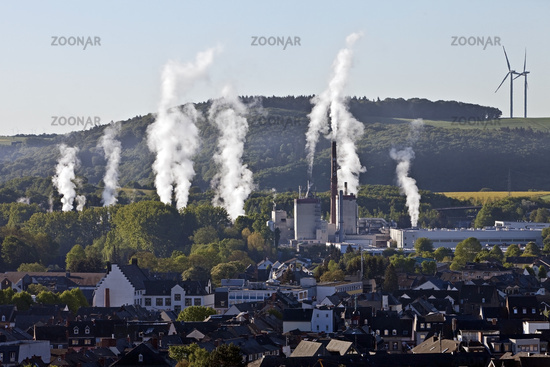 Vertical rising columns of smoke in calm, Mayen, Eifel, Rhineland-Palatinate, Germany, Europe