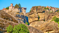 Orthodox monasteries on the rocks in Meteora
