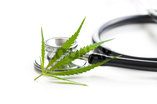 Marijuana cannabis leaves and stethoscope.