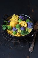 cauliflower curry with colorful cauliflower and romanesco
