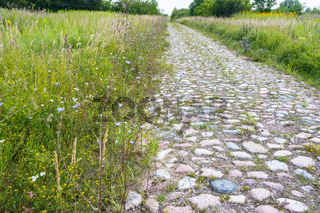 cobblestone road outside the city, old German road in the field