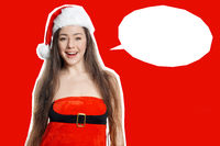 cut out young woman wearing christmas santa claus costume with empty speech bubble