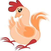 Childrens illustration, graphics - surprised rooster, chicken, poultry