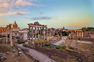 Dusk view of Roman Forum looking East