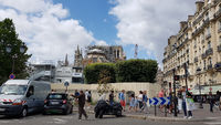 Temporary security measure at choir-side of Notre-Dame in Paris in August 2019. Editorial use on