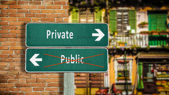 Street Sign Private versus Public
