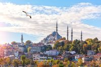 Suleymaniye Mosque on the hill of Istanbul, view from the Eminonu pier