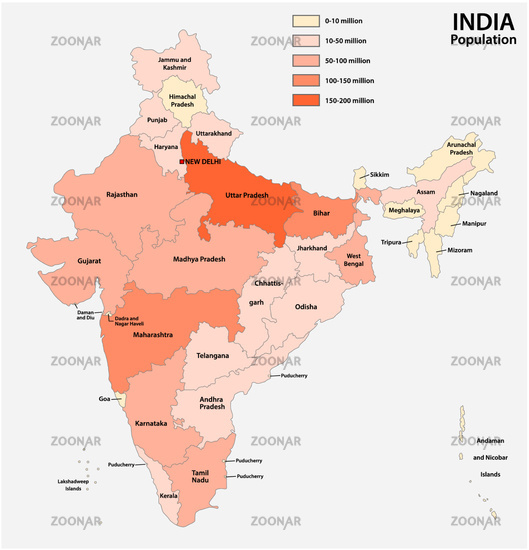 vector population map of the republic of india
