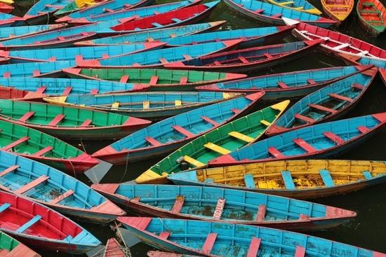 Multi colored rowing boats on Fewa lake, Pokhara.
