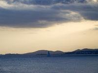 Cloudy sunset in Mallorca beach
