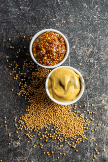 Yellow mustard and whole grain mustard.