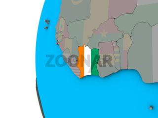 Ivory Coast with flag on 3D globe