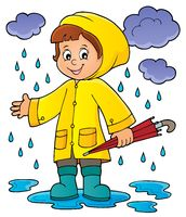 Girl in rainy weather theme image 1