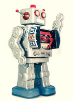 retro silver robot is waving isolated