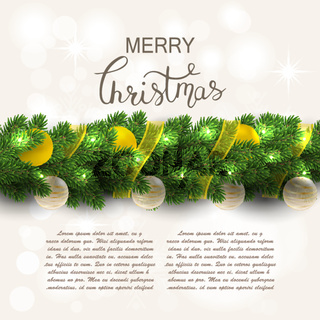 Christmas decorations with fir tree and decorative elements.