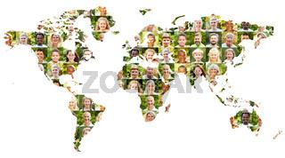 Aktive Welt Bevölkerung Konzept mit Portrait Collage