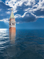 Concept image of the future in Venice Italy as global warming makes the city uninhabitable