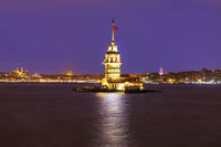 Maiden's Tower of Istanbul in evening lights, Tirkey