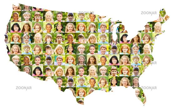 Kinder Portrait Collage auf USA Karte