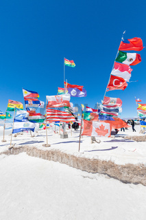 Bolivia international flags in Salar of Uyuni