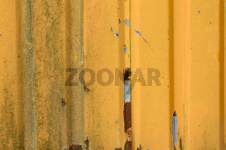 Old orange corrugated sheet iron
