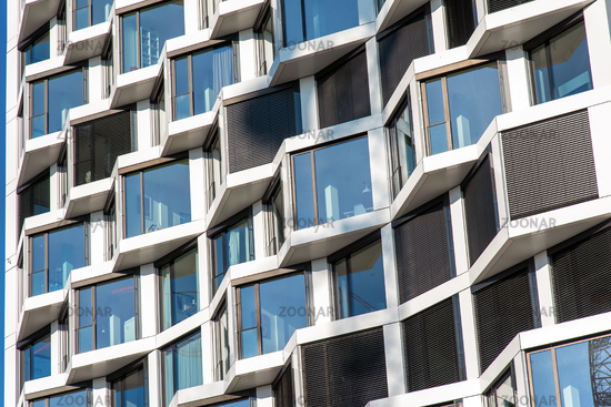 Detail of a modern high-rise apartment building seen in Munich, Germany