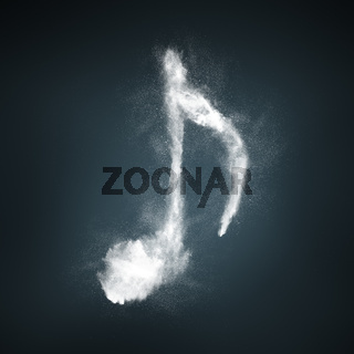 Abstract design of white powder particles explosion musical symbol shape over dark background