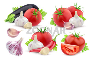 Different vegetables isolated on white background