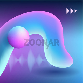 Modern colorful flow poster. Wave Liquid shape on dark pink color background with the musical wave and sign play.