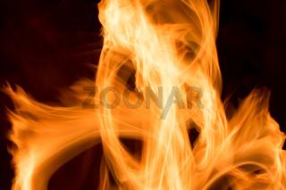 Feuer einer Heizung in Langzeitbelichtung - Nahaufnahme