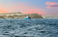 Sunrise panoramic seascape Red Sea White yachts Egypt, Africa.