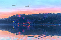 Rumelian Castle in the sunset colours and evening lights, Istanbul