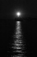 Newhaven Lighthouse on July night Black and White