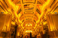 October 31, 2019: MACAU, CHINA - Interior of the Venetian Hotel and Casino, Largest Supercomplex in the World