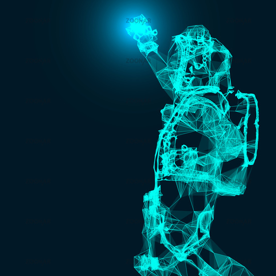 Abstract illustration of an astronaut. Connection linear shapes with dots. Vector space wireframe concept.