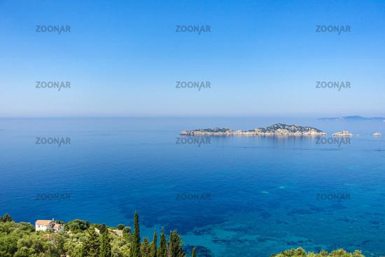 View from Afionas to Dragon Island, Corfu, Greece
