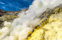 Sulfur mining, Kawah Ijen volcano, Java, Indonesia