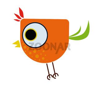 little colorful and joyful cartoon bird
