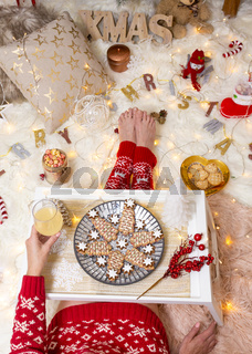 Christmas food among Christmas decorations in cosy home