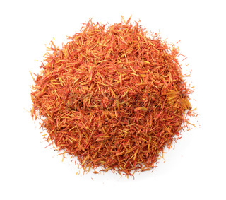 Top view of dried saffron threads