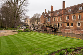 The mathematical Bridge also known as the Wooden Bridge designed by William Etheridge crossing the River Cam to contect 2 parts of Queens' College in Cambridge