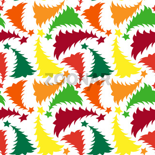 Seamless multilayer pattern of different colored New Year and Christmas trees