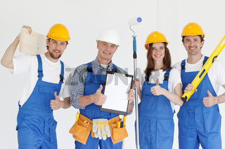 Industrial workers with tools