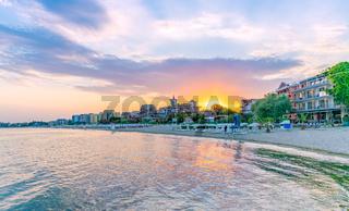 Sunset at the beach in Sunny Beach on the Black Sea coast of Bulgaria