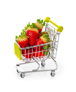 Strawberry in shopping cart