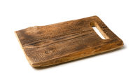Old rectangular wooden cutting board isolated