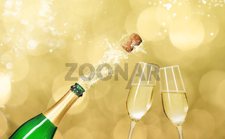 Champagne bottle with two champagne glasses