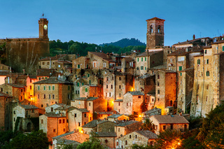 Sorano - tuff city in Tuscany. Italy
