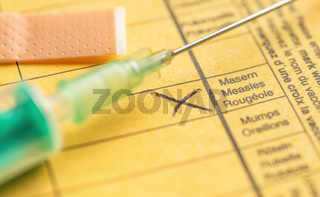 International certificate of vaccination - Measles